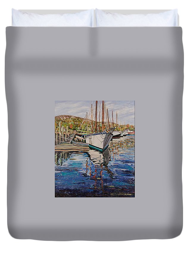 Maine Duvet Cover featuring the painting Maine Coast Boat Reflections by Richard Nowak