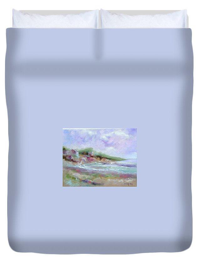 Maine Coastline Duvet Cover featuring the painting Maine Coastline by Ginger Concepcion