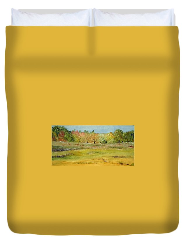 Landscape Duvet Cover featuring the painting Maine Marsh by Jean Blackmer