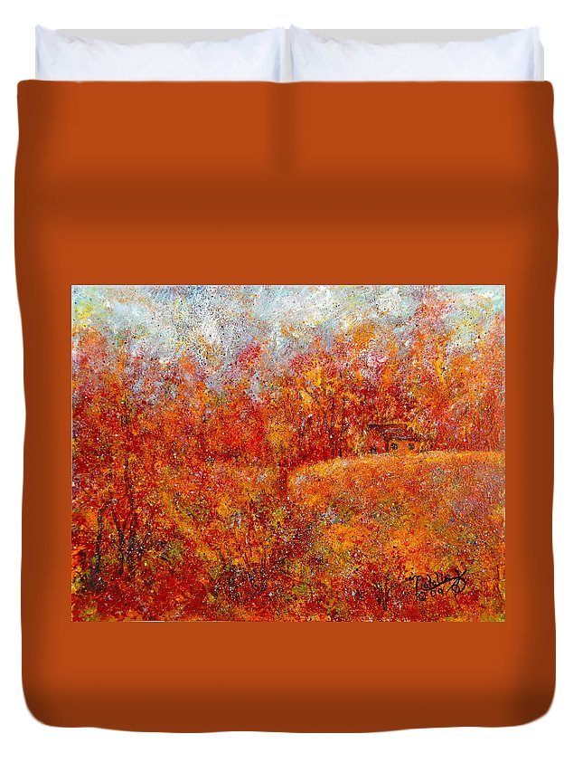 Autumn Duvet Cover featuring the painting Majestic Autumn by Natalie Holland