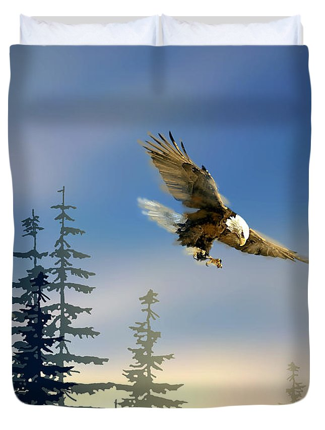Bird Duvet Cover featuring the painting Majestic Eagle by Paul Sachtleben