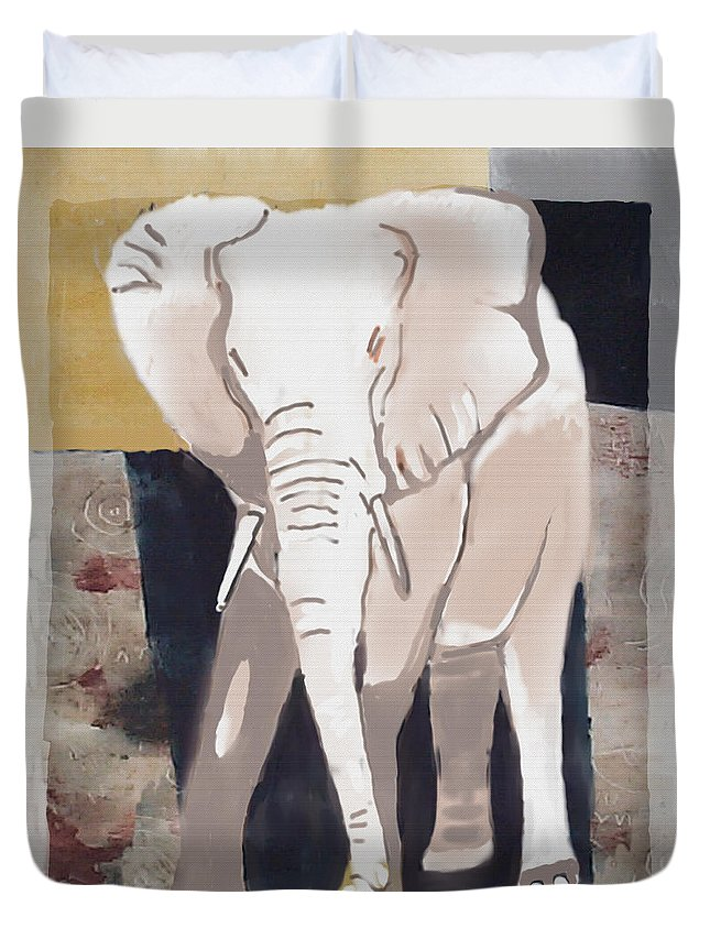 Elephant Duvet Cover featuring the painting Majestic Elephant by Thomas Tribby