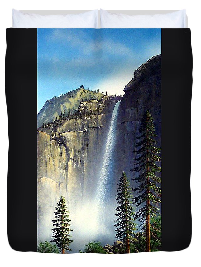 Landscape Duvet Cover featuring the painting Majestic Falls by Frank Wilson