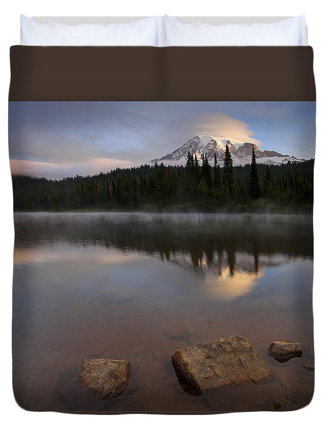 Mt. Rainier Duvet Cover featuring the photograph Majestic Rainier Dawn by Mike Dawson