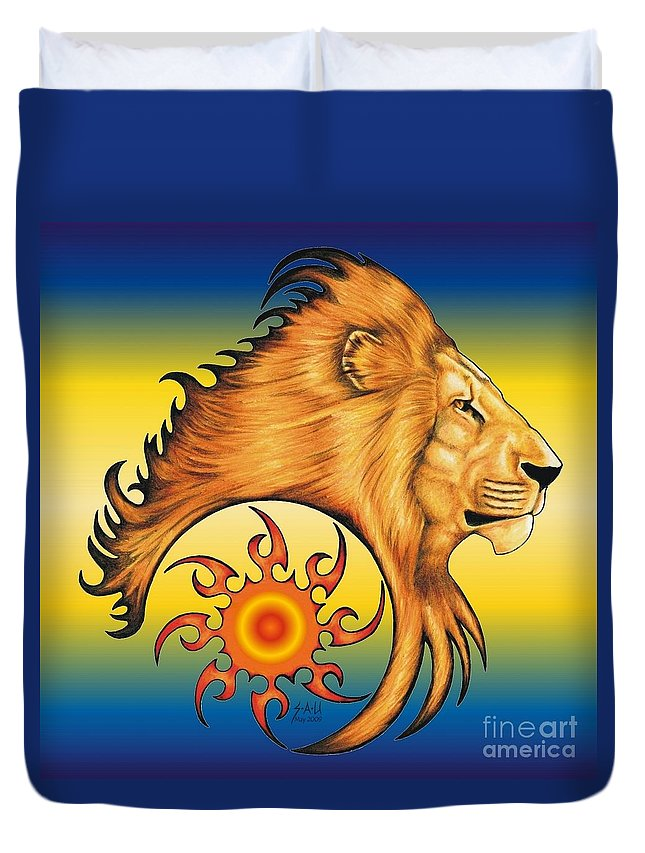 Lion Duvet Cover featuring the drawing Majestic Soul by Sheryl Unwin