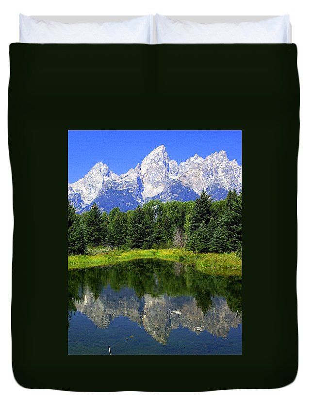 Grand Teton National Park Duvet Cover featuring the photograph Majestic Tetons by Marty Koch