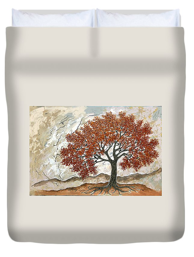 Tree With Birds Duvet Cover featuring the painting Majestic Tree by Stephen Grundy