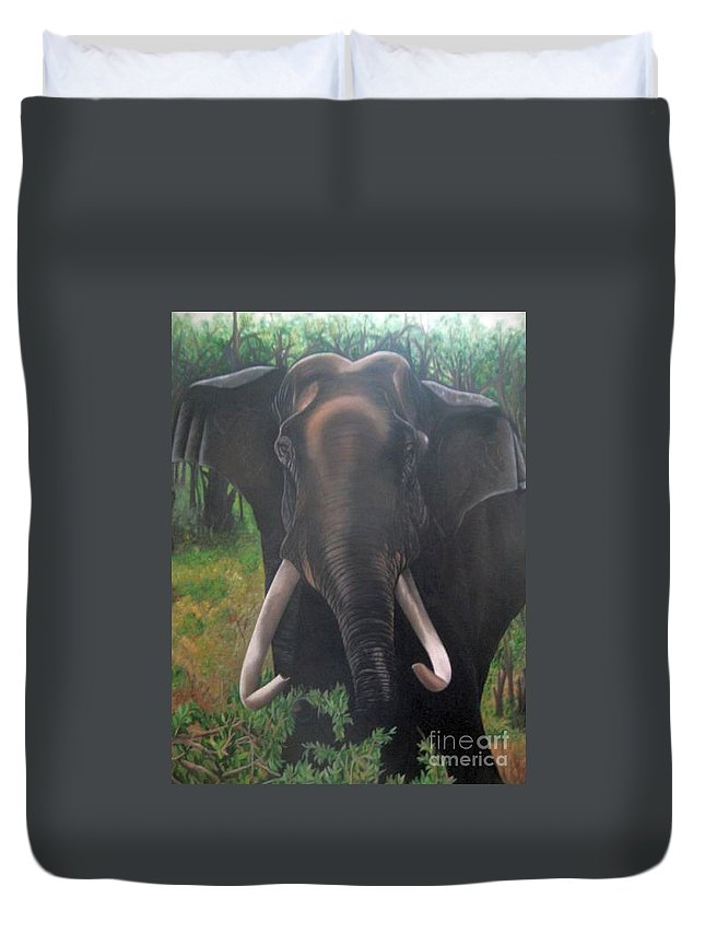 Elephant Duvet Cover featuring the painting Majestic by Usha Rai