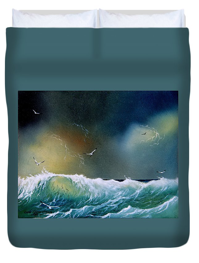 Water Duvet Cover featuring the painting Majestic Wave by Don Griffiths