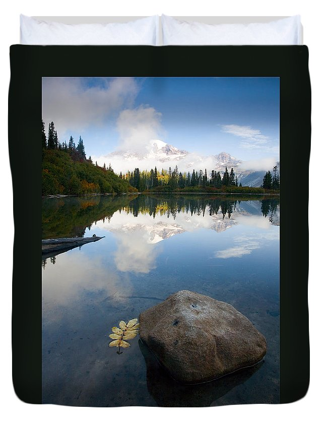 Rainier Duvet Cover featuring the photograph Majesty Hidden by Mike Dawson