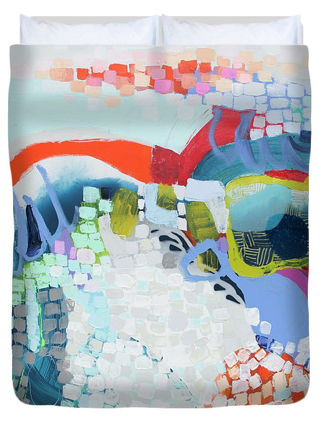 Abstract Duvet Cover featuring the painting Make Some Noise by Claire Desjardins