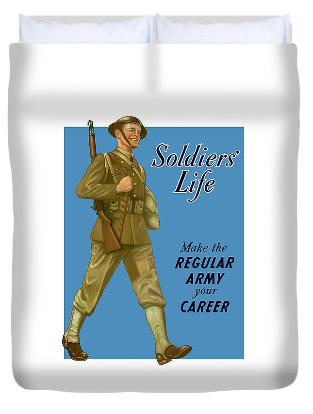 Army Duvet Cover featuring the painting Make The Regular Army Your Career by War Is Hell Store
