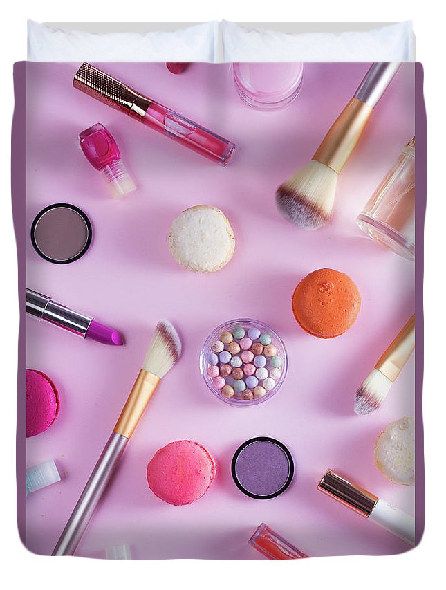 Macaroons Duvet Cover featuring the photograph Make Up And Sweets by Anastasy Yarmolovich
