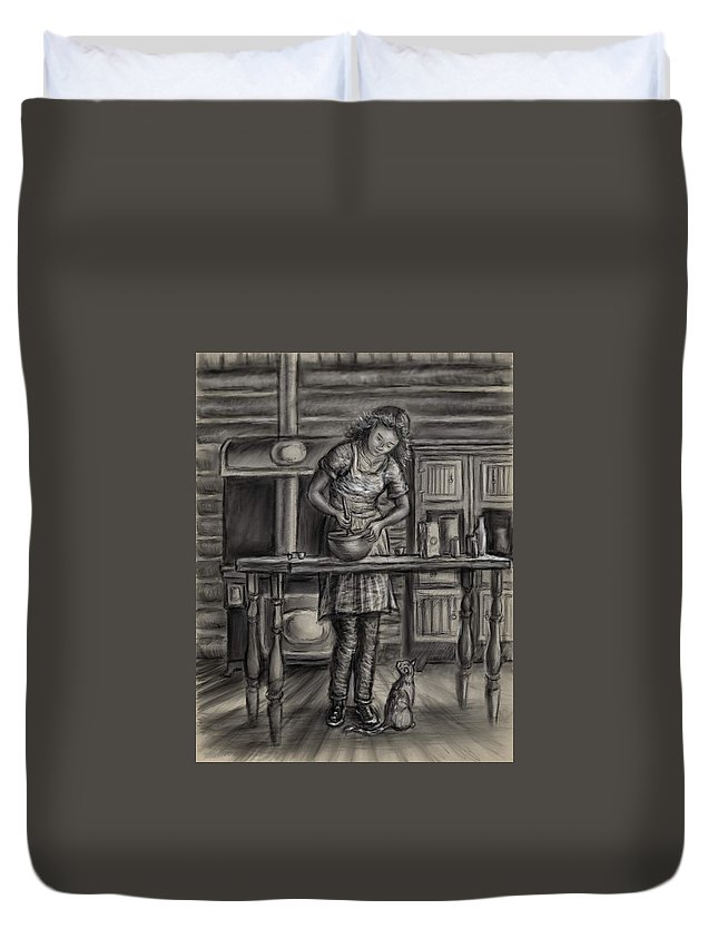 Woman Duvet Cover featuring the drawing Making Bread In The Cabin by Dawn Senior-Trask