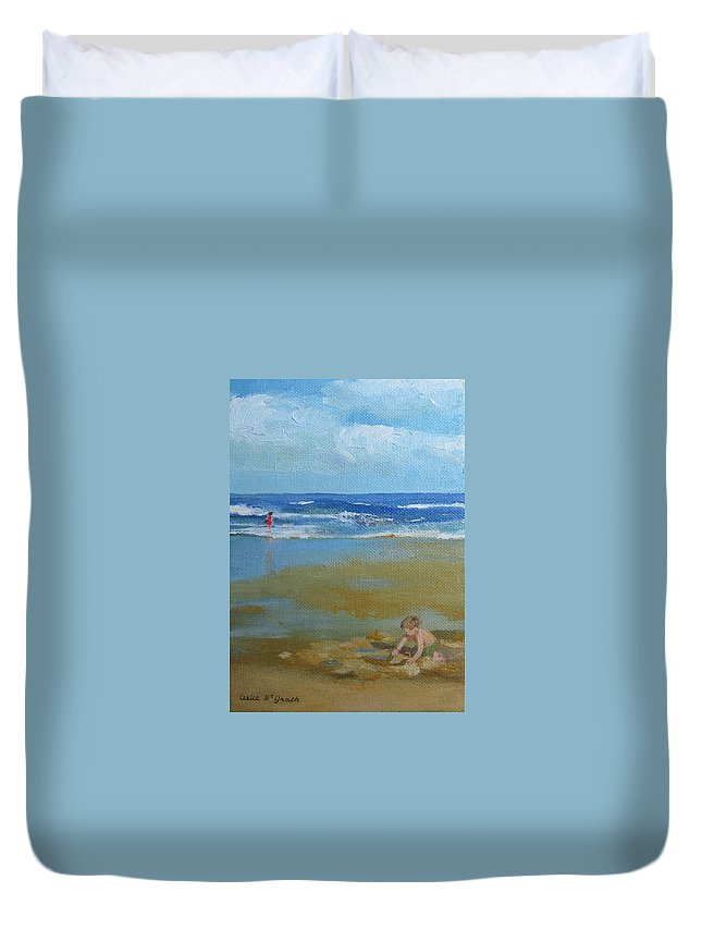 Leslie Mcgrath Duvet Cover featuring the painting making castles on Salisbury Beach by Leslie Alfred McGrath