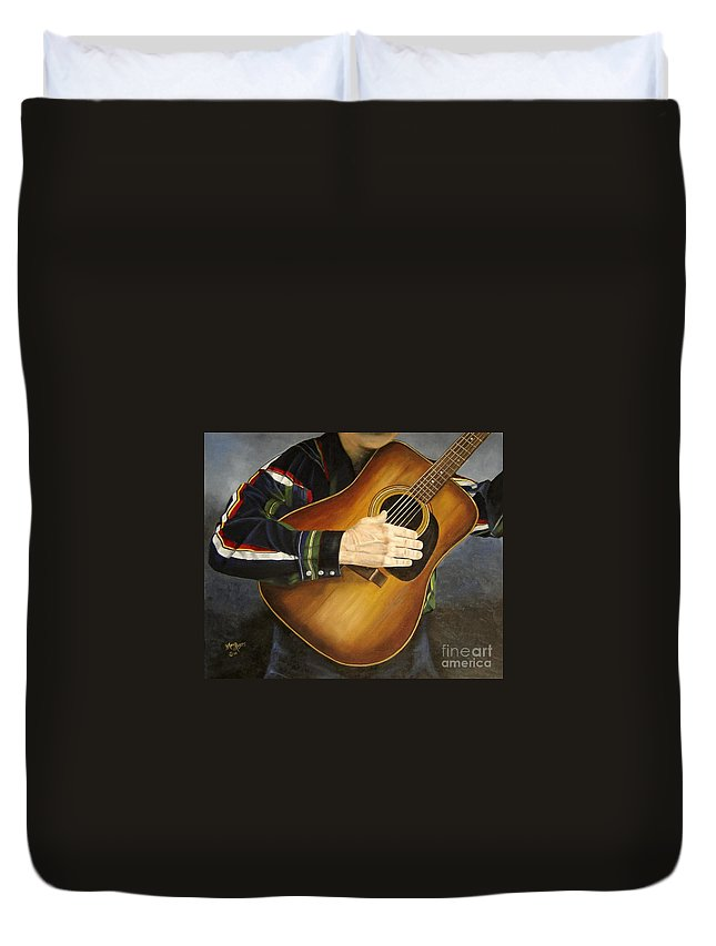 Usa Duvet Cover featuring the painting Making Music by Mary Rogers