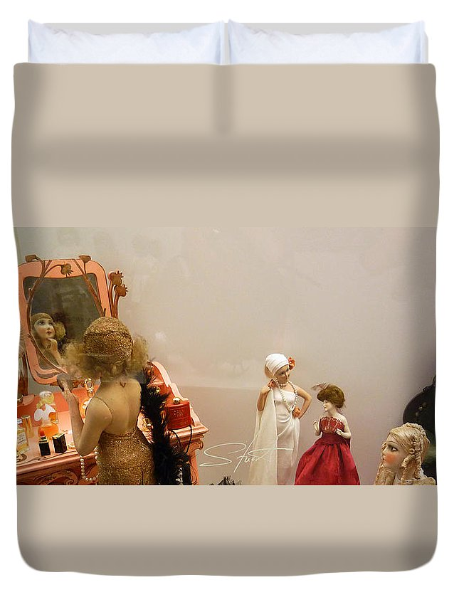 Make-up Duvet Cover featuring the photograph Making Up by Charles Stuart