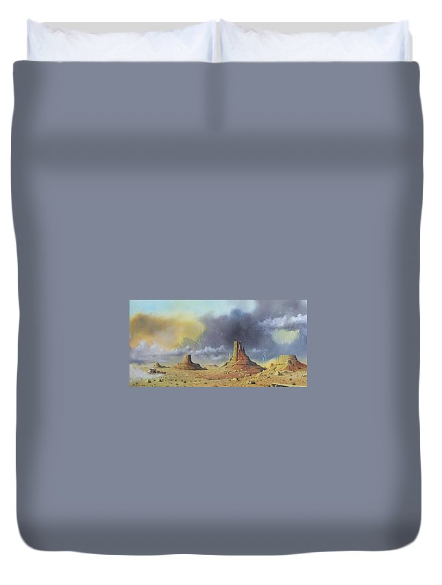 Landscape Duvet Cover featuring the painting Making Up Time by Don Griffiths