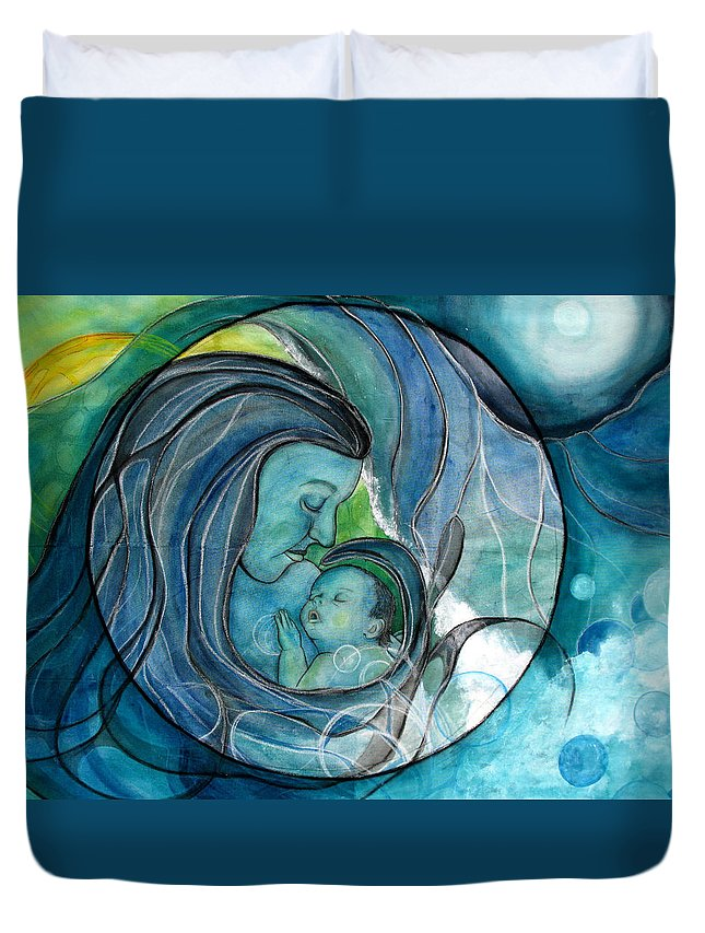 Mom Duvet Cover featuring the painting Makuahine by Kimberly Kirk