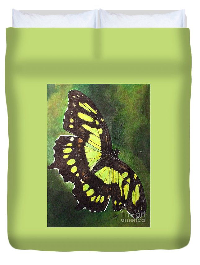 Butterfly Duvet Cover featuring the mixed media Malacite by Barbara Keith