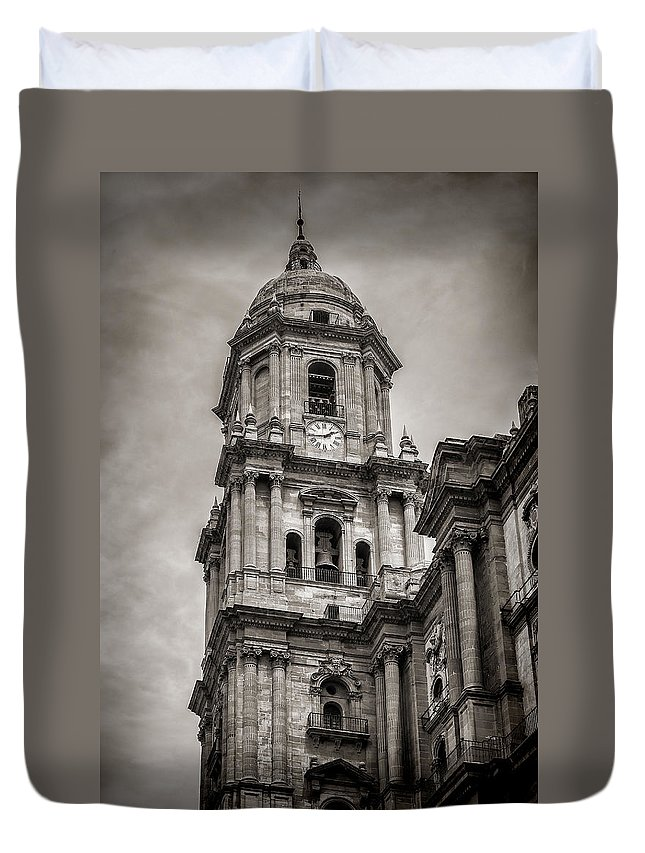 Malaga Cathedral Duvet Cover featuring the photograph Malaga Cathedral by John Tremayne Baker