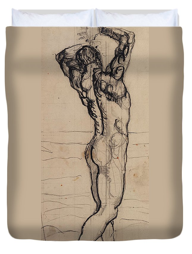 Drawing; Nude; Back View; Stretching; Standing; Full Length; Symbolist; Pen Duvet Cover featuring the drawing Male Act  Study For The Truth by Ferdninand Hodler