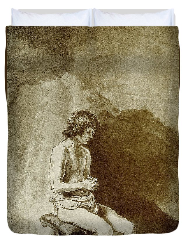 Rembrandt Duvet Cover featuring the drawing Male Nude by Rembrandt Harmensz van Rijn