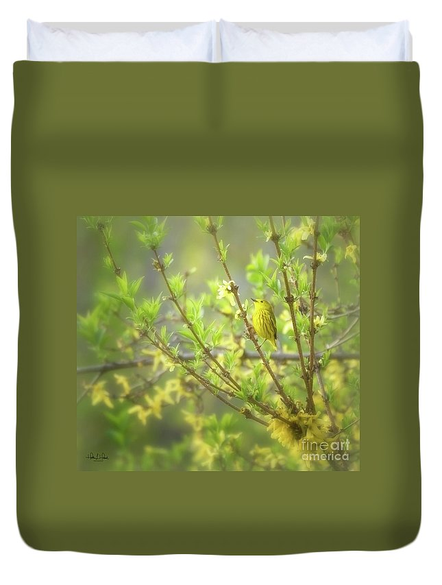 Aves Duvet Cover featuring the photograph Male Yellow Warbler by Heather Hubbard