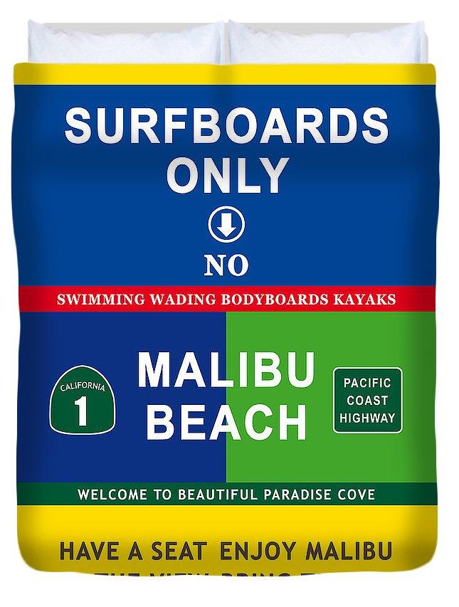 Malibu Duvet Cover featuring the digital art Malibu Beach California Surf by Pascal Huon