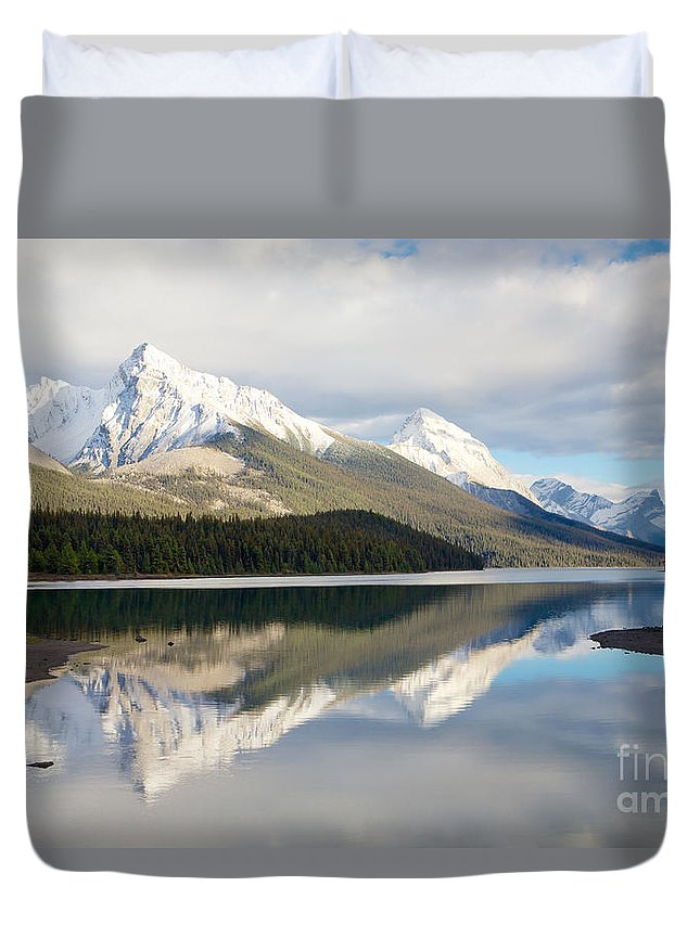 Jasper National Park Duvet Cover featuring the photograph Malingne Lake Reflection, Jasper National Park by Daryl L Hunter