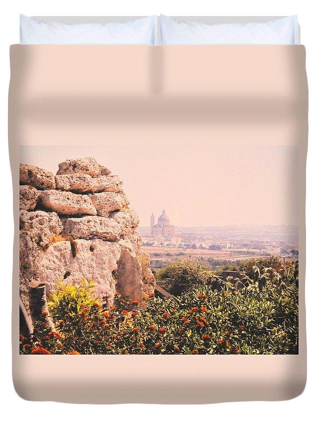 Malta Duvet Cover featuring the photograph Malta Wall by Ian MacDonald