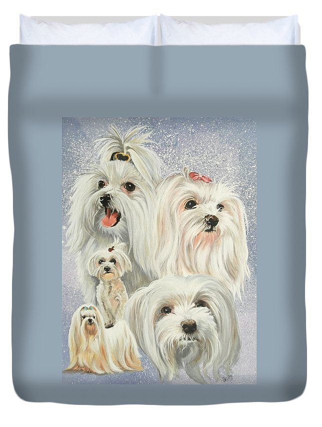 Dog Duvet Cover featuring the painting Maltese Collage by Barbara Keith