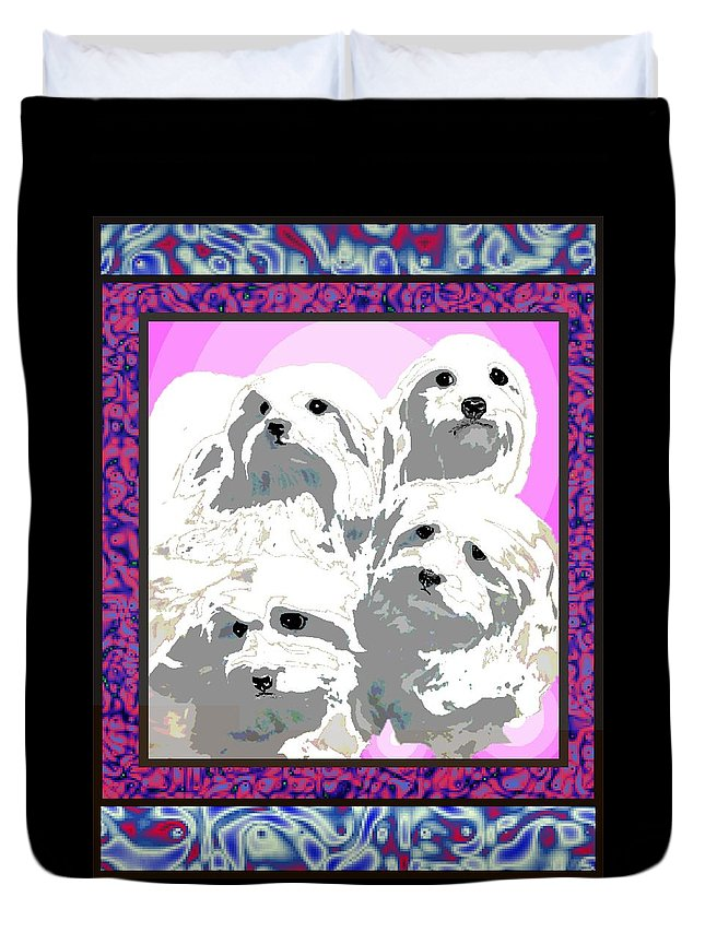 Maltese Group Duvet Cover featuring the digital art Maltese Group by Kathleen Sepulveda