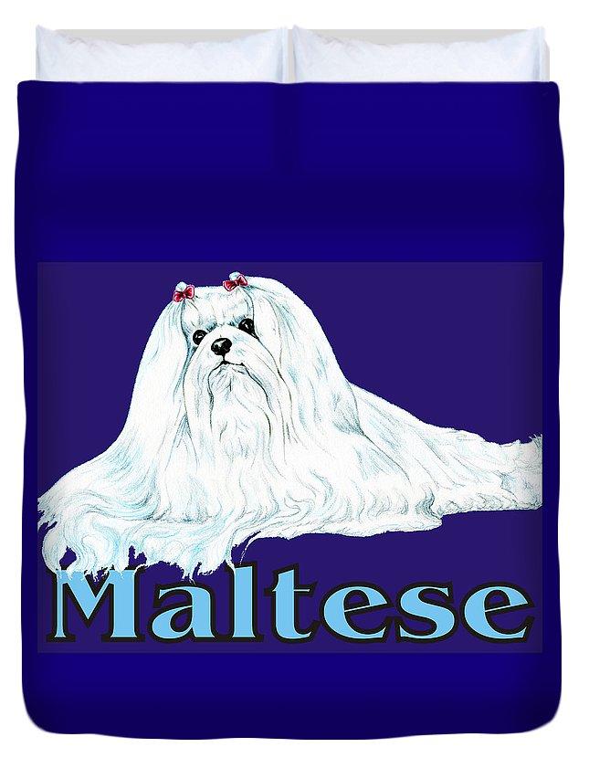 Maltese Duvet Cover featuring the digital art Maltese Pop Art by Kathleen Sepulveda