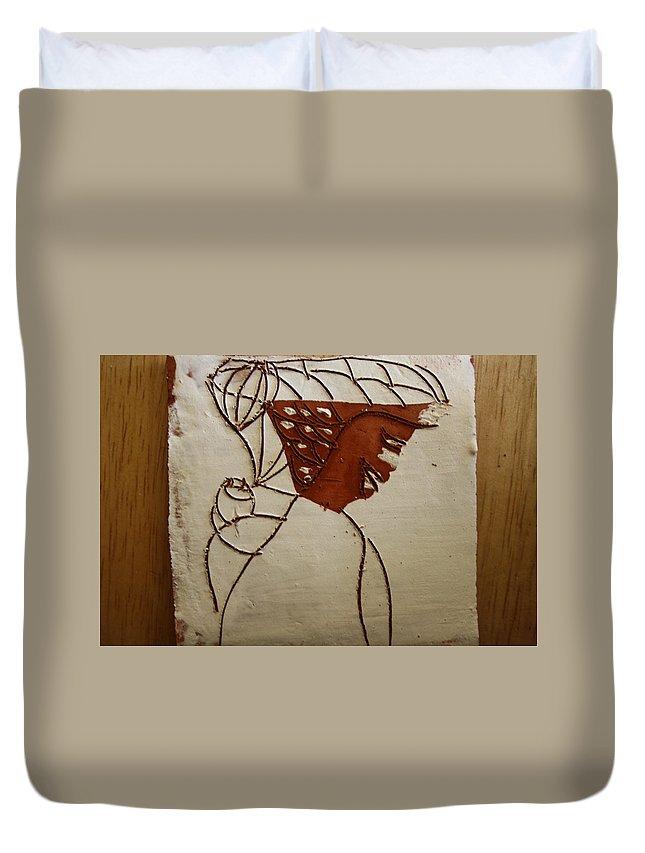 Jesus Duvet Cover featuring the ceramic art Mama 7 - Tile by Gloria Ssali