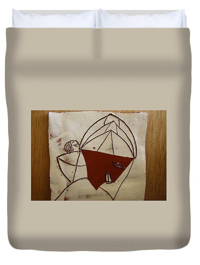 Jesus Duvet Cover featuring the ceramic art Mama 8 - Tile by Gloria Ssali