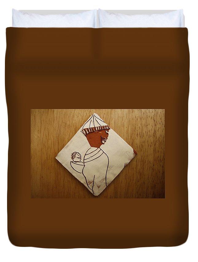Jesus Duvet Cover featuring the ceramic art Mama 9 - Tile by Gloria Ssali