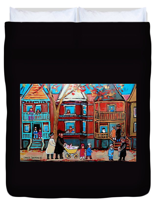 Hassidic Community Duvet Cover featuring the painting Mama Papa And New Baby by Carole Spandau