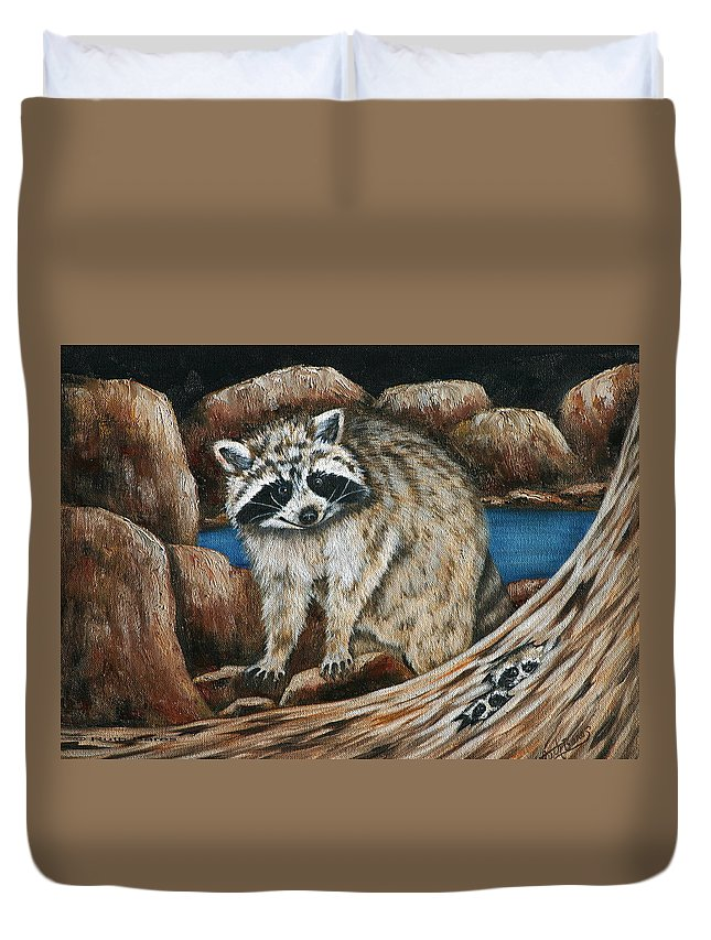 Racoon Duvet Cover featuring the painting Mama Racoon by Ruth Bares
