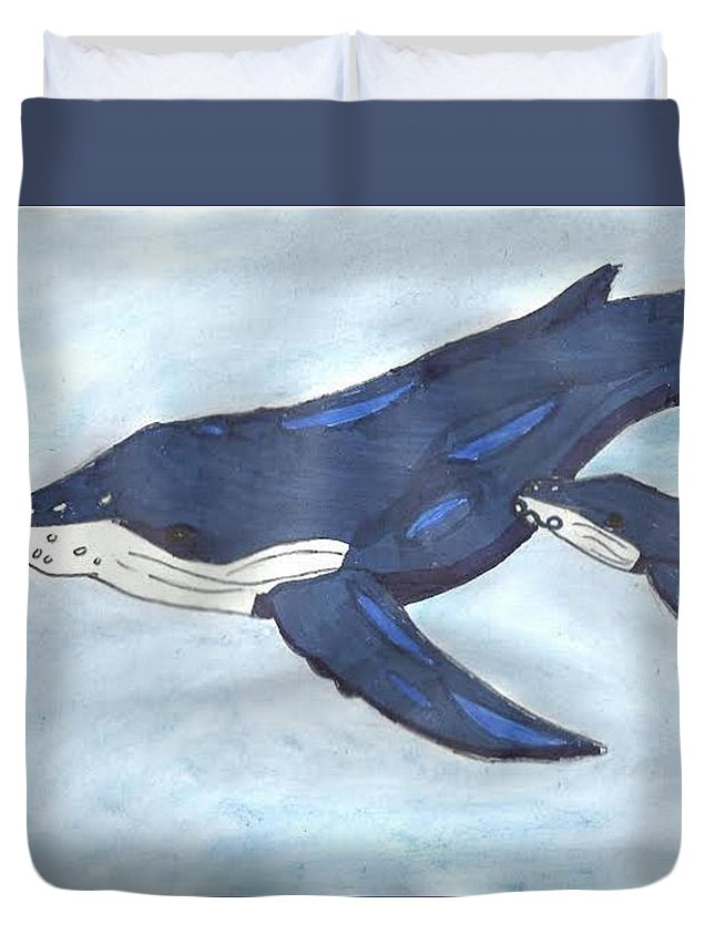 Ocean Duvet Cover featuring the mixed media Mama Whale by Emily Victoria