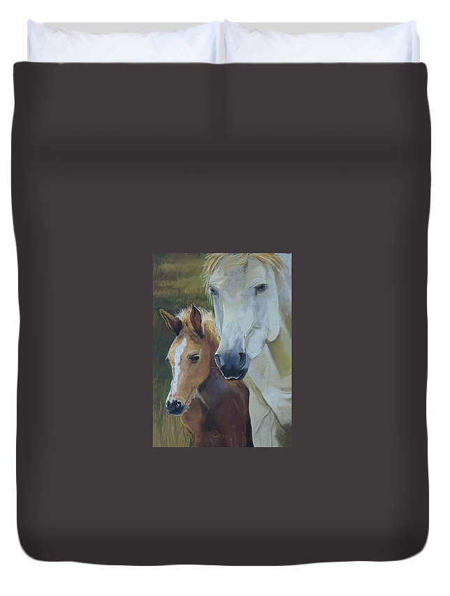 Horses Duvet Cover featuring the painting Mama's Boy by Heather Coen