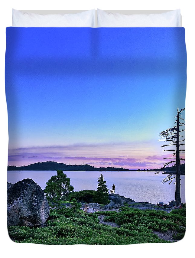 California Duvet Cover featuring the photograph Man And Dog by Jim Thompson