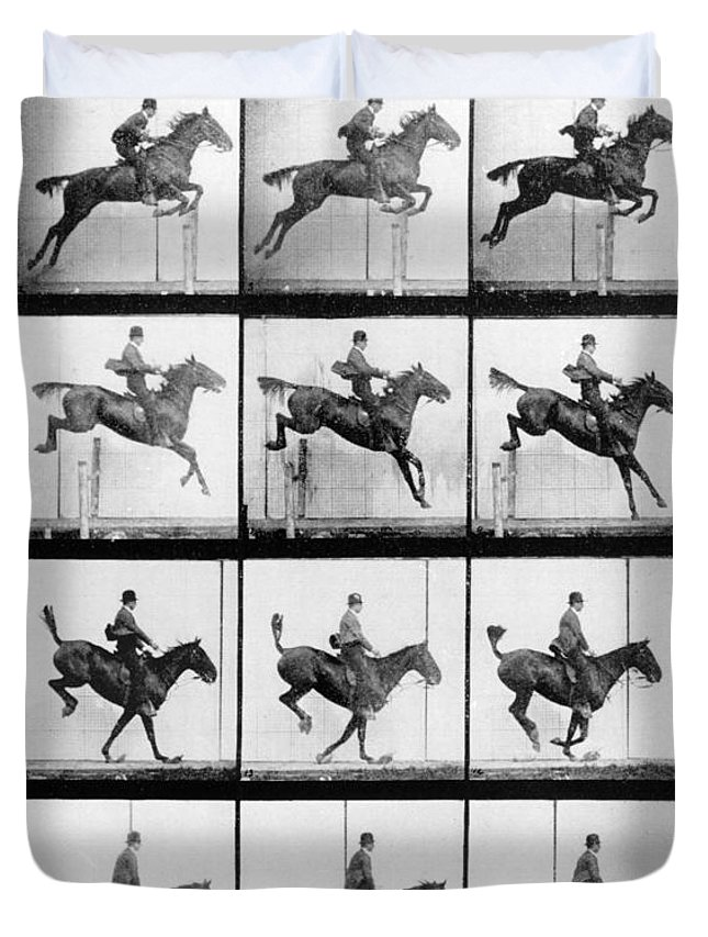 Muybridge Duvet Cover featuring the photograph Man And Horse Jumping by Eadweard Muybridge