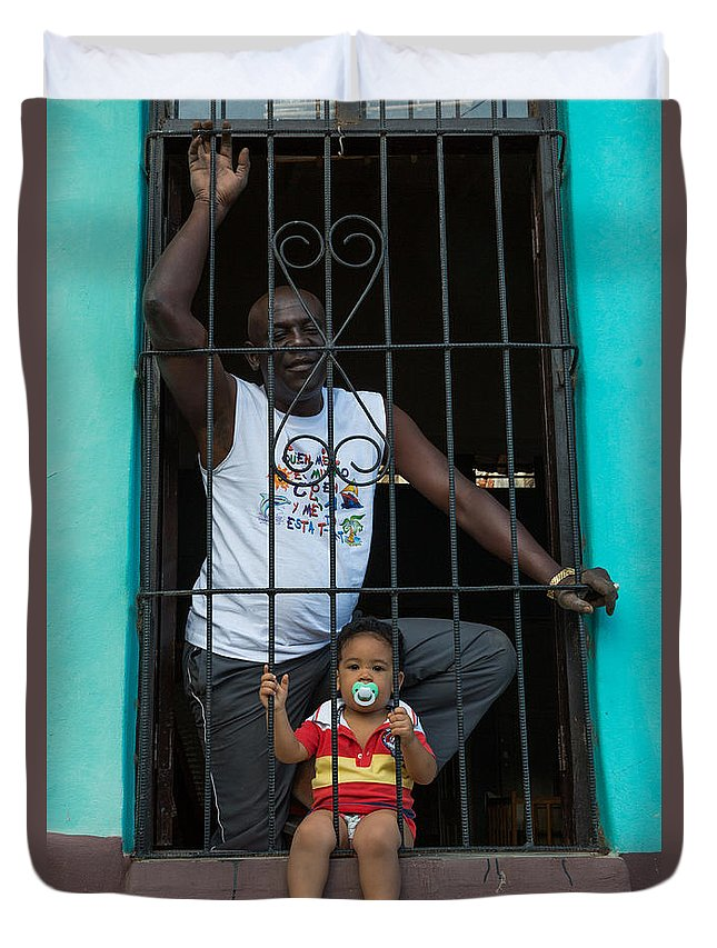 Baby Duvet Cover featuring the photograph Man And Son In The Window by Dan Hartford