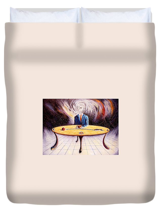 Surrealism Duvet Cover featuring the painting Man Attempting To Comprehend His Place In The Universe by Darwin Leon