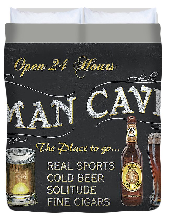 Sports Duvet Cover featuring the painting Man Cave Chalkboard Sign by Debbie DeWitt