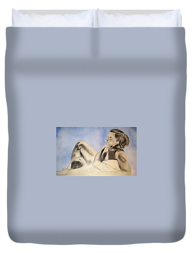 Pencil Duvet Cover featuring the mixed media Man In Recline by Angela Murray