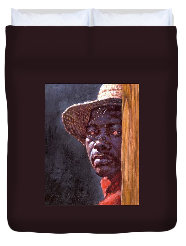 Black Man Duvet Cover featuring the painting Man In Straw Hat by John Lautermilch