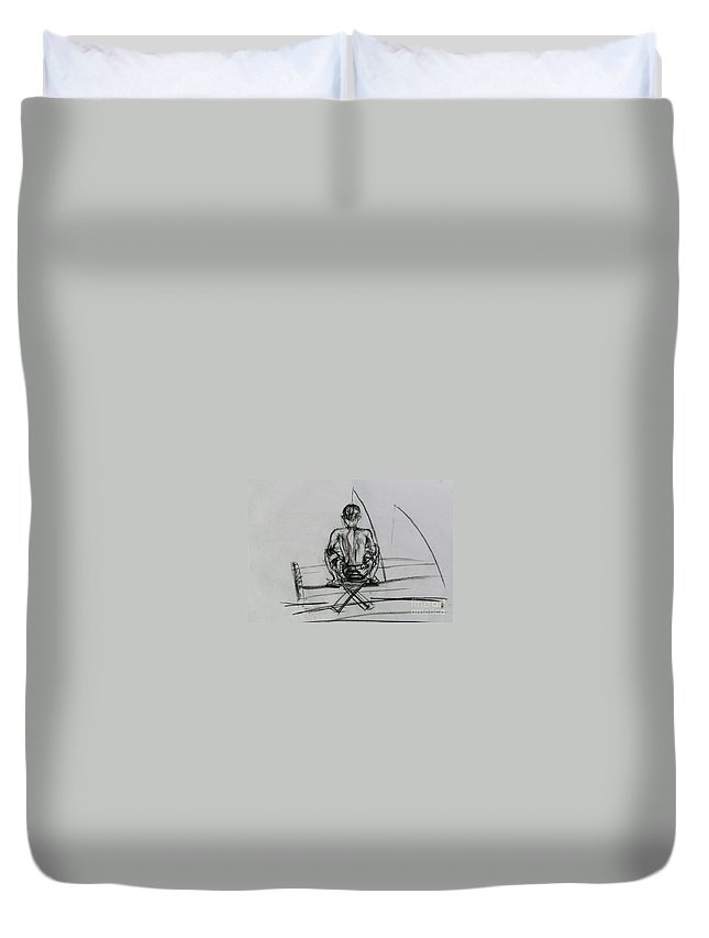Duvet Cover featuring the drawing Man In The Fishing Game by Sukalya Chearanantana