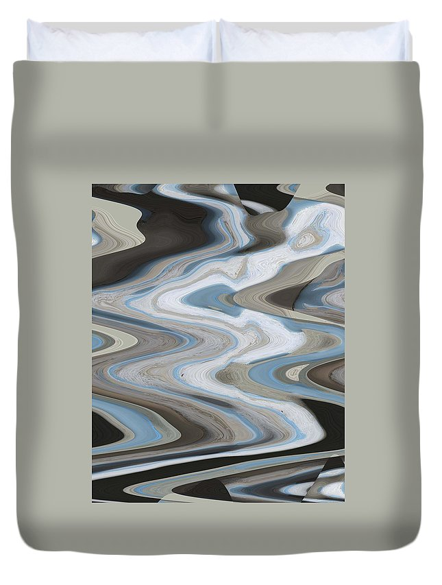 Abstract Duvet Cover featuring the digital art Man In The Moon Travels To Earth by Lenore Senior